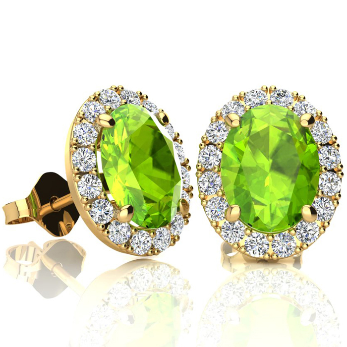 3 Carat Oval Shape Peridot & Halo Diamond Stud Earrings in 10K Ye