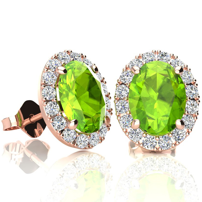 3 Carat Oval Shape Peridot & Halo Diamond Stud Earrings in 14K Ro