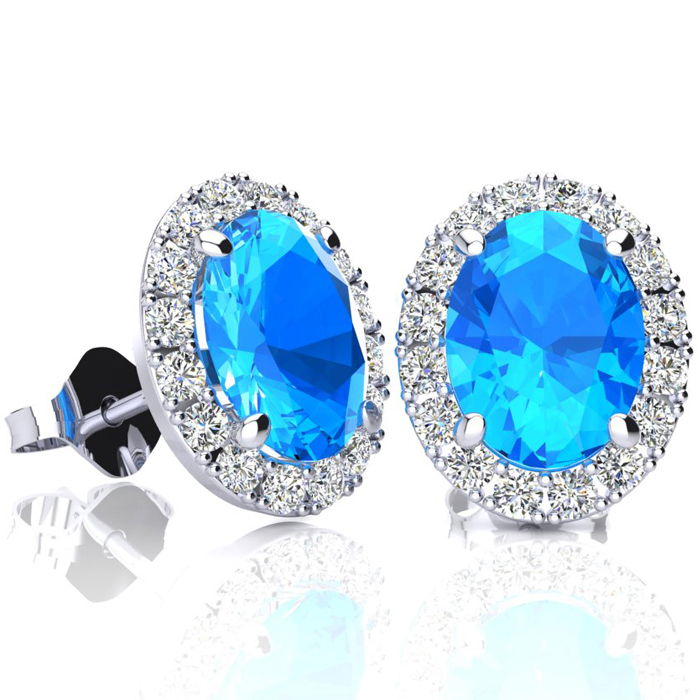3 1/4 Carat Oval Shape Blue Topaz & Halo Diamond Stud Earrings in 14K White Gold, I/J by SuperJeweler