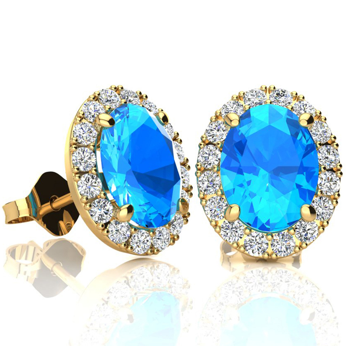 3 1/4 Carat Oval Shape Blue Topaz & Halo Diamond Stud Earrings in