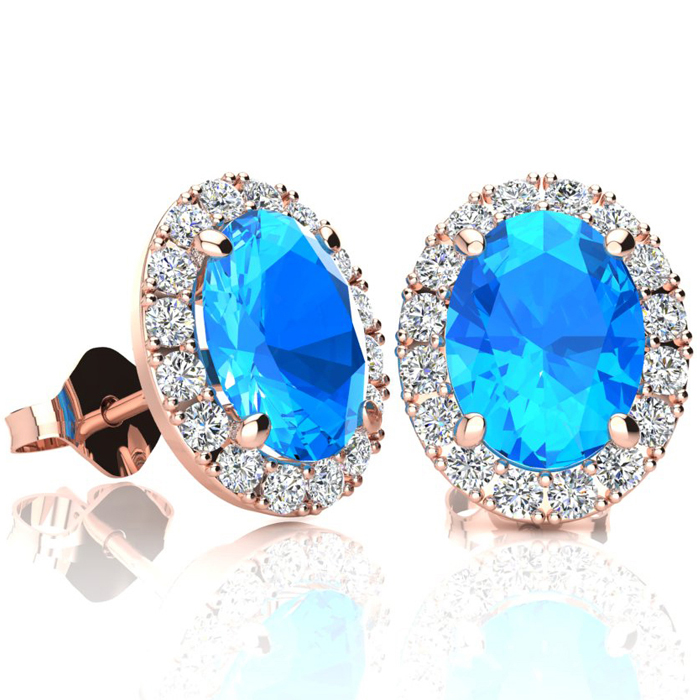 3 1/4 Carat Oval Shape Blue Topaz & Halo Diamond Stud Earrings in 10K Rose Gold, I/J by SuperJeweler