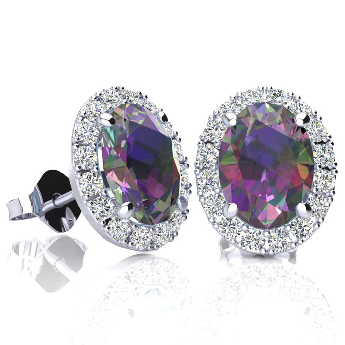 3 1/4 Carat Oval Shape Mystic Topaz & Halo Diamond Stud Earrings in 10K White Gold, I/J by SuperJeweler