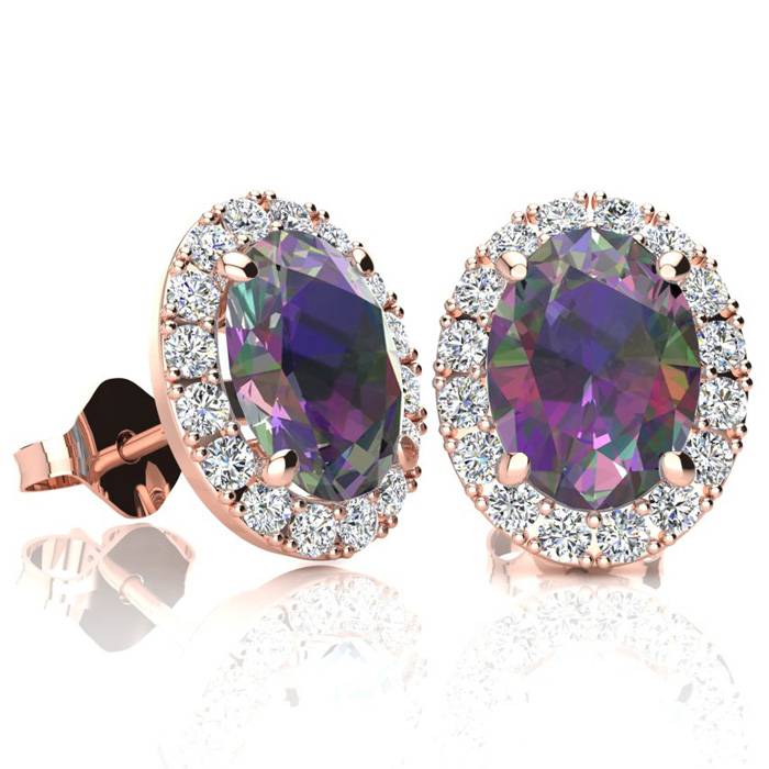 3 1/4 Carat Oval Shape Mystic Topaz & Halo Diamond Stud Earrings in 14K Rose Gold, I/J by SuperJeweler