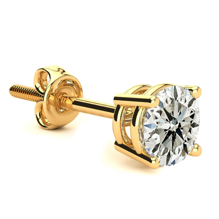 Classic 1 Carat Single Diamond Stud Earring in 14k Yellow Gold, J/K by Hansa