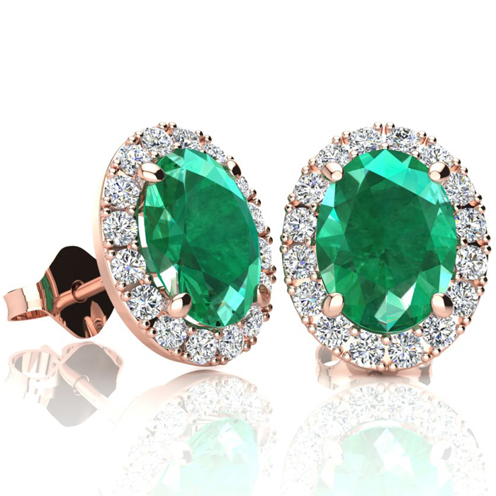 2.5 Carat Oval Shape Emerald Cut & Halo Diamond Stud Earrings in