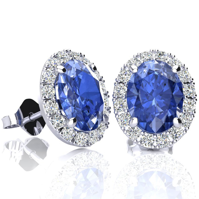 2.90 Carat Oval Shape Tanzanite & Halo Diamond Stud Earrings in 1