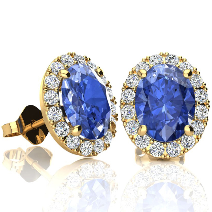 2.90 Carat Oval Shape Tanzanite & Halo Diamond Stud Earrings in 14K Yellow Gold, I/J by SuperJeweler