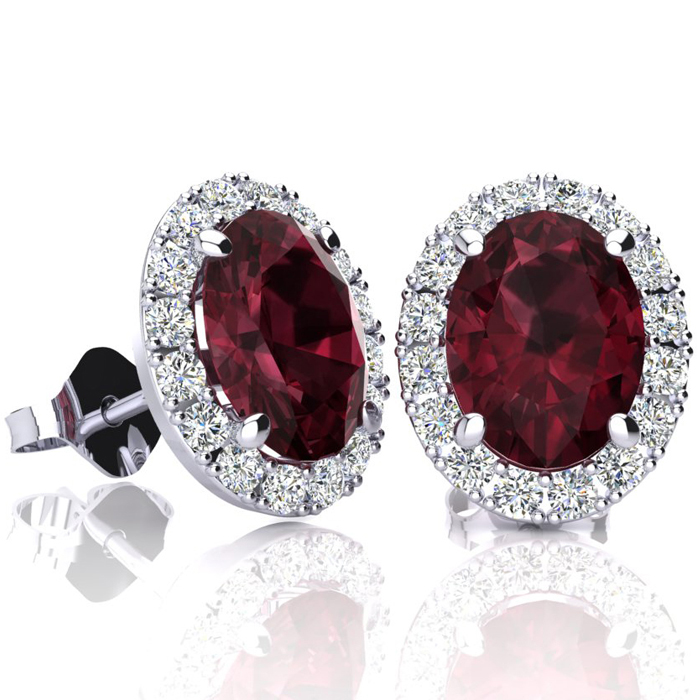 3 1/4 Carat Oval Shape Garnet & Halo Diamond Stud Earrings in 10K