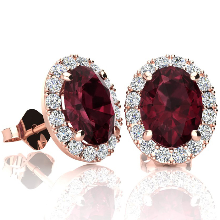 3 1/4 Carat Oval Shape Garnet & Halo Diamond Stud Earrings in 14K