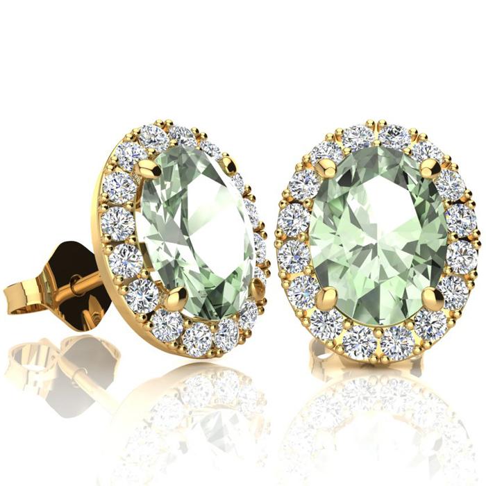 2.40 Carat Oval Shape Green Amethyst & Halo Diamond Stud Earrings in 10K Yellow Gold, I/J by SuperJeweler