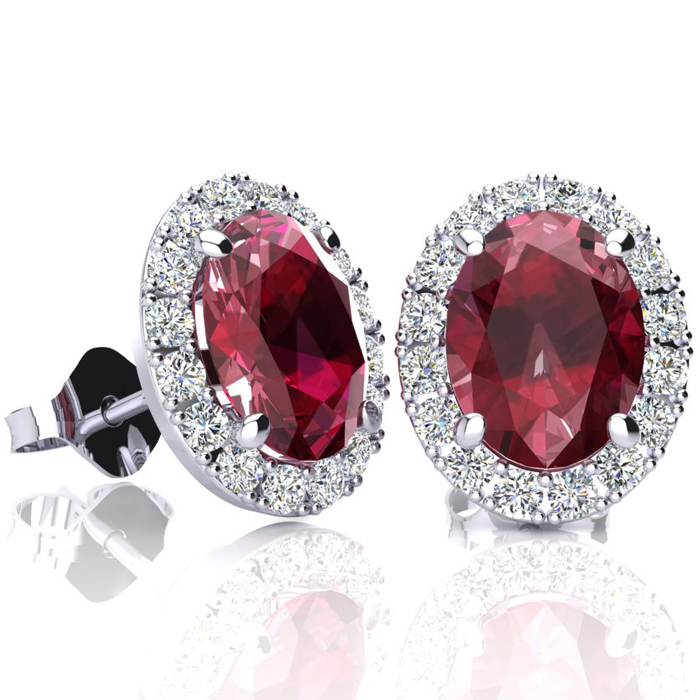 3.40 Carat Oval Shape Ruby & Halo Diamond Stud Earrings in 14K Wh