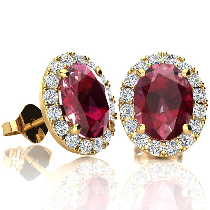 3.40 Carat Oval Shape Ruby & Halo Diamond Stud Earrings in 10K Ye