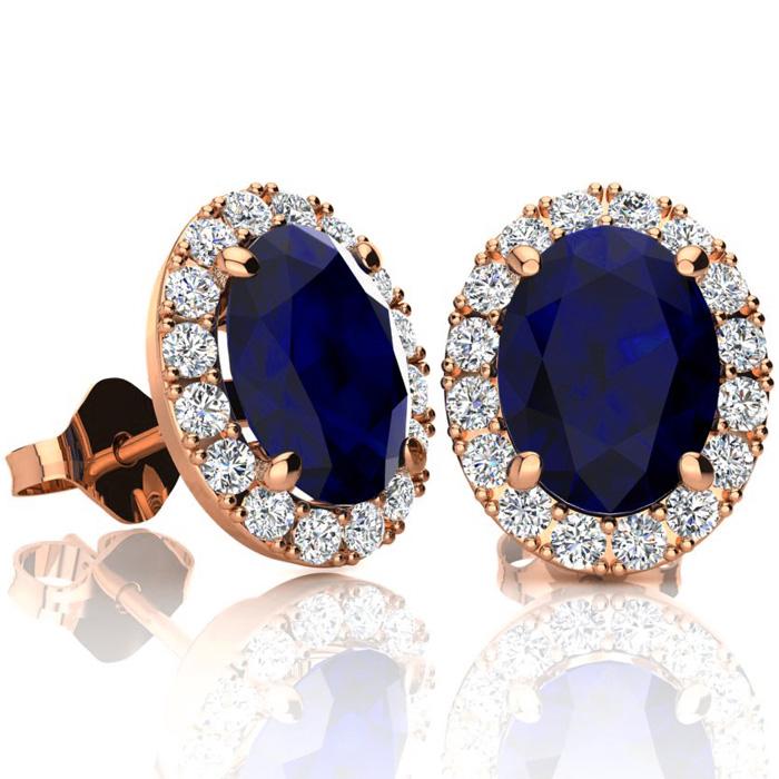 3 1/2 Carat Oval Shape Sapphire & Halo Diamond Stud Earrings in 10K Rose Gold, I/J by SuperJeweler