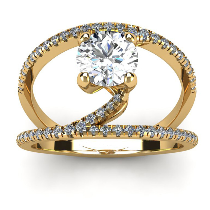 1.50 Carat Open Band Engagement Ring in 14K Yellow Gold (4.6 g) (