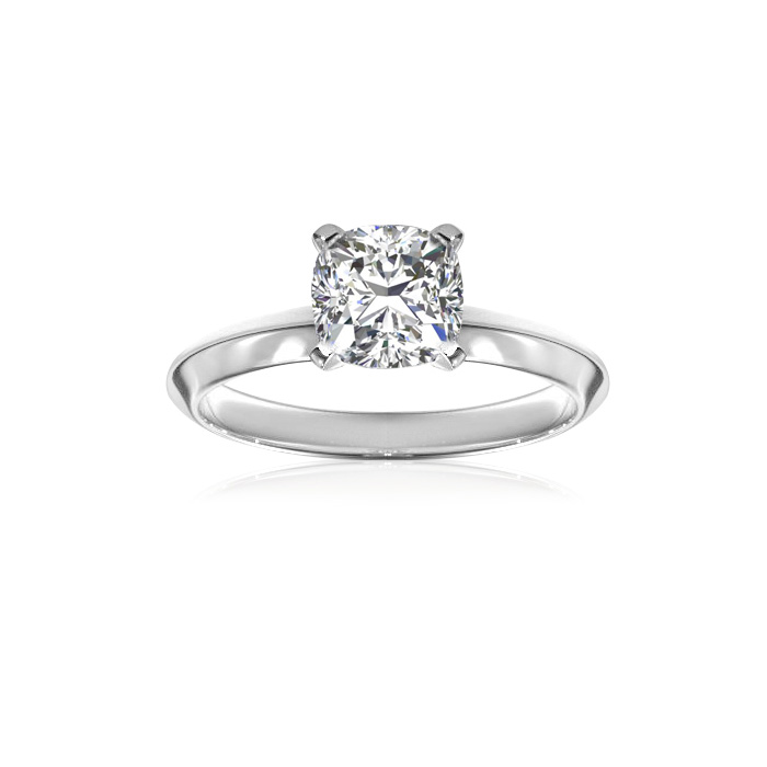 1 Carat Cushion Cut Diamond Solitaire Engagement Ring in 14K White Gold (1.5 g),  by SuperJeweler