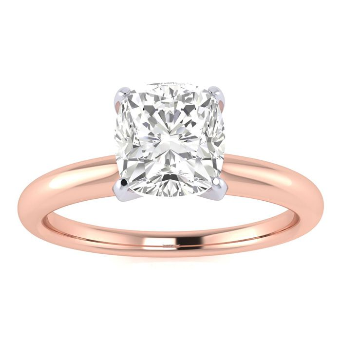 1 Carat Cushion Cut Diamond Solitaire Engagement Ring in 14K Rose Gold (1.5 g) (I-J, I1-I2 Clarity Enhanced) by SuperJeweler