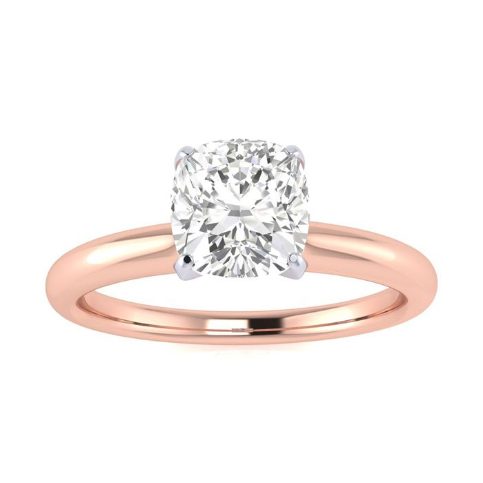 3/4 Carat Cushion Cut Diamond Solitaire Engagement Ring in 14K Ro