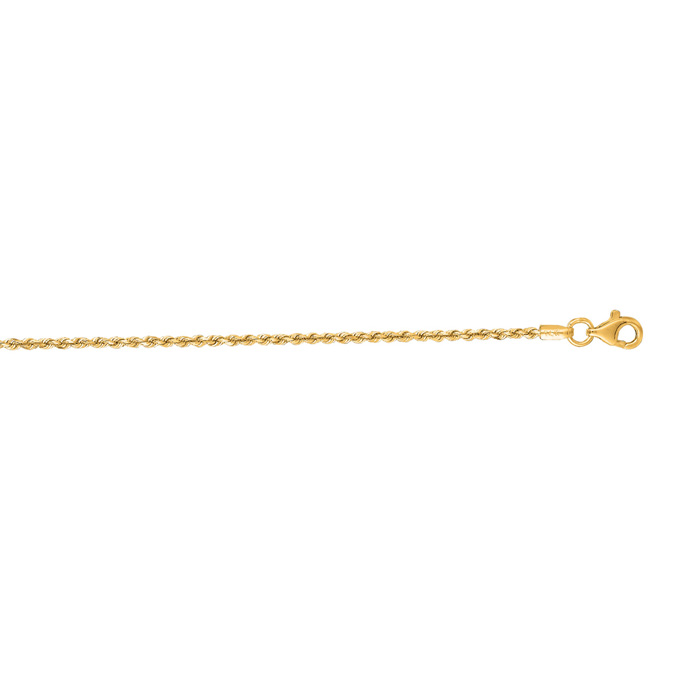 14K Yellow Gold (1.5 g) 1.50mm 7 Inch Solid Diamond Cut Rope Chai