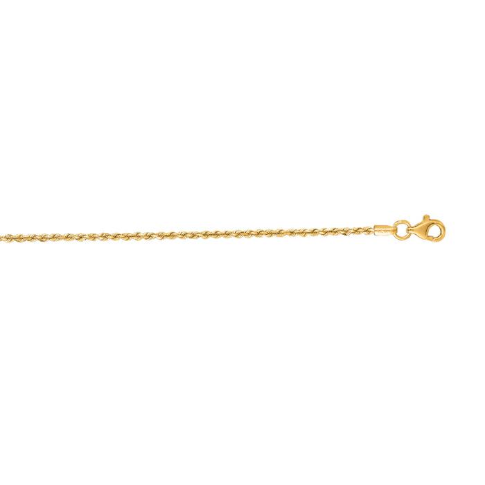 14K Yellow Gold (2.8 g) 1.50mm 16 Inch Solid Diamond Cut Rope Cha
