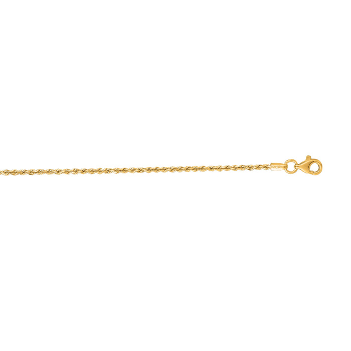 14K Yellow Gold (3.8 g) 1.50mm 22 Inch Solid Diamond Cut Rope Cha