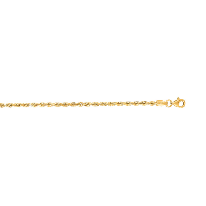 14K Yellow Gold (2.6 g) 2.50mm 22 Inch Solid Diamond Cut Rope Cha