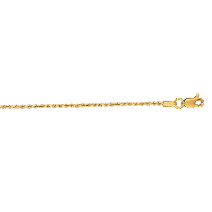 14K Yellow Gold (3.7 g) 1.25mm 24 Inch Solid Rope Chain Necklace