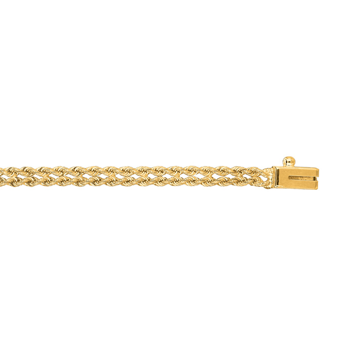 14K Yellow Gold (3.7 g) 3.0mm 7 Inch Double Line Rope Chain Bracelet by SuperJeweler
