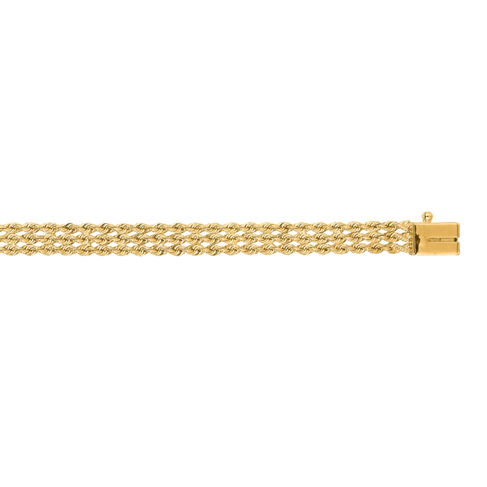 14K Yellow Gold (5.6 g) 4.50mm 7 Inch Multi Line Rope Chain Brace