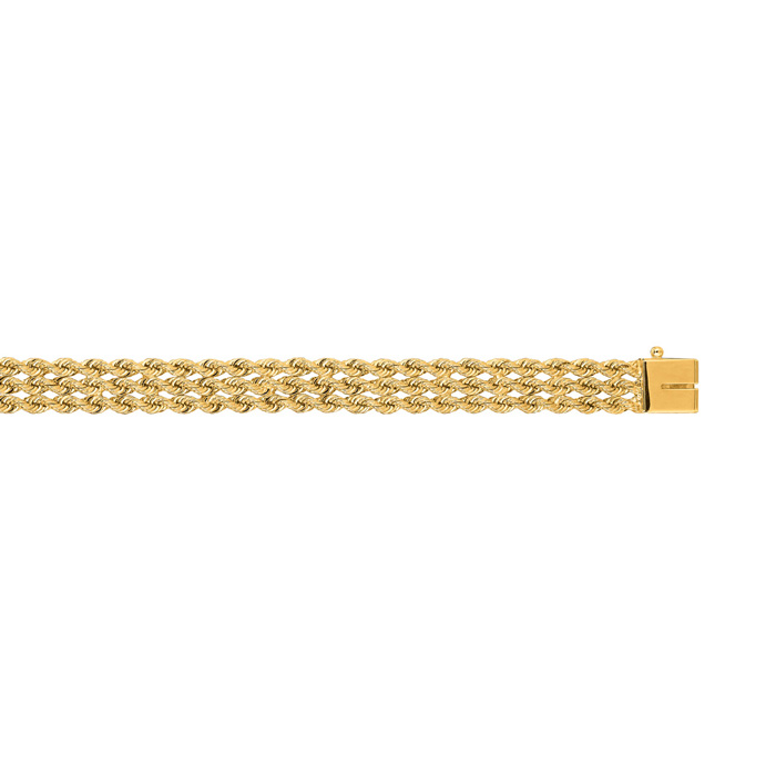 14K Yellow Gold (11.3 g) 7.50mm 7 Inch Multi Line Rope Chain Bracelet by SuperJeweler