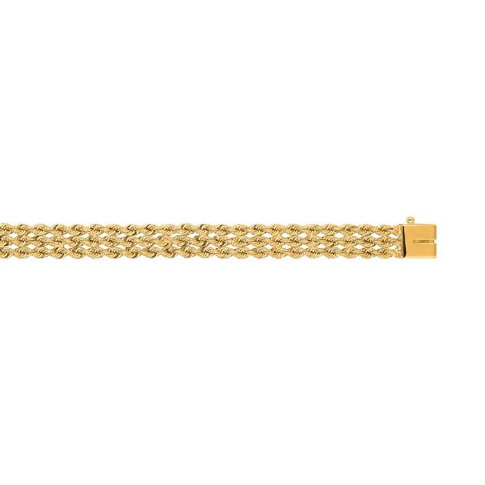 14K Yellow Gold (11.3 g) 7.50mm 7 Inch Multi Line Rope Chain Brac