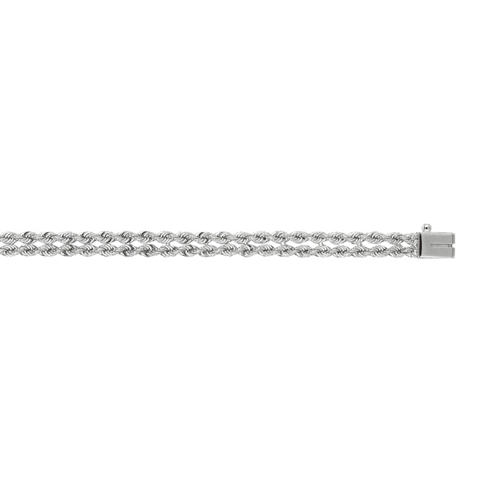 14K White Gold (7.6 g) 7.50mm 7 Inch Multi Line Rope Chain Bracel