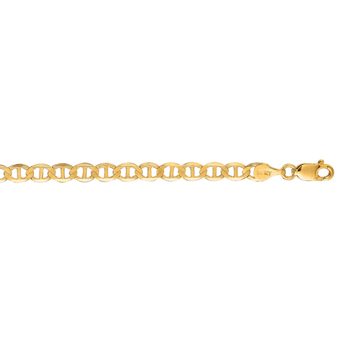 14K Yellow Gold (6.2 g) 4.50mm 22 Inch Diamond Cut Mariner Link Chain Necklace by SuperJeweler