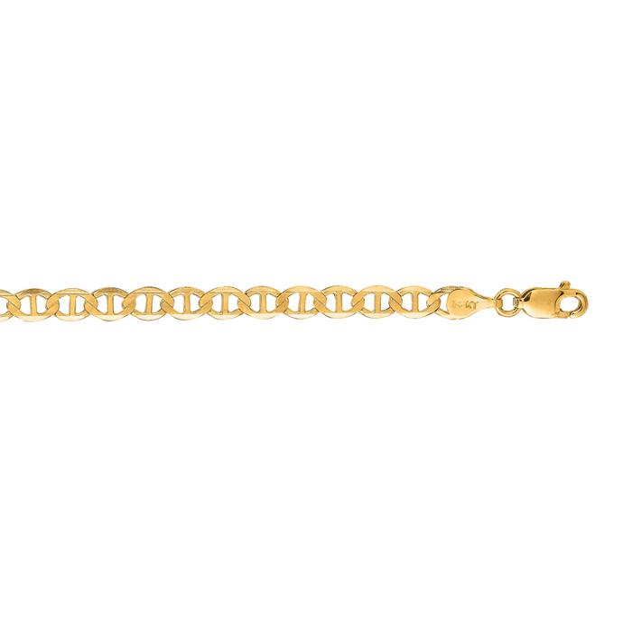 14K Yellow Gold (6.2 g) 4.50mm 22 Inch Diamond Cut Mariner Link C