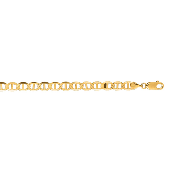 14K Yellow Gold (4.9 g) 5.50mm 8 Inch Diamond Cut Mariner Link Chain Bracelet by SuperJeweler