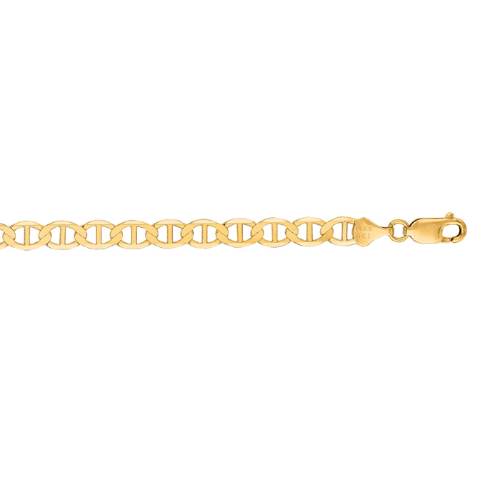 14K Yellow Gold (1.6 g) 6.30mm 8.5 Inch Diamond Cut Mariner Link Chain Bracelet by SuperJeweler