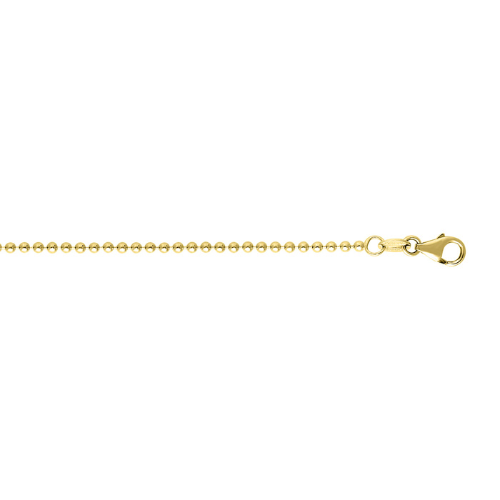 14K Yellow Gold (3.2 g) 1.50mm 16 Inch Non Diamond Cut Shiny Bead
