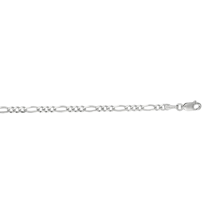 14K White Gold (2.6 g) 3.0mm 24 Inch Diamond Cut Classic Figaro C