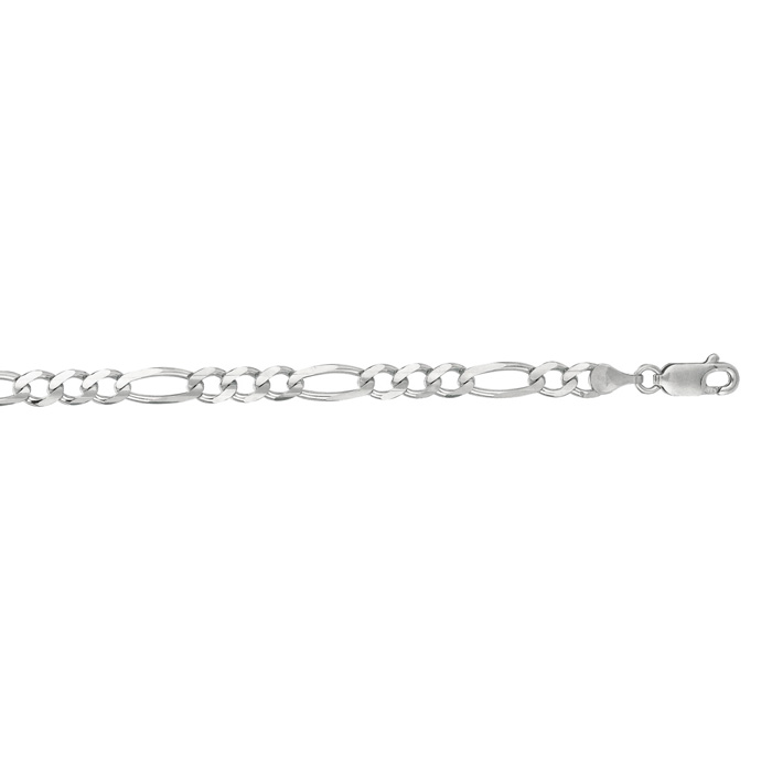 14K White Gold (13.6 g) 4.60mm 18 Inch Diamond Cut Classic Figaro Chain Neck..