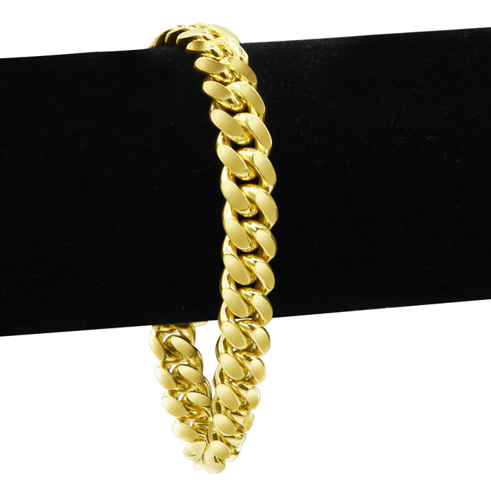 14K Yellow Gold (25.2 g) 6.70mm 8.5 Inch Miami Cuban Chain Bracelet by SuperJeweler