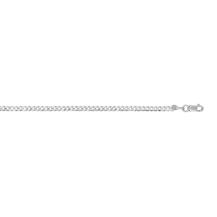 14K White Gold (2.4 g) 2.60mm 10 Inch Comfort Curb Chain Necklace by SuperJeweler