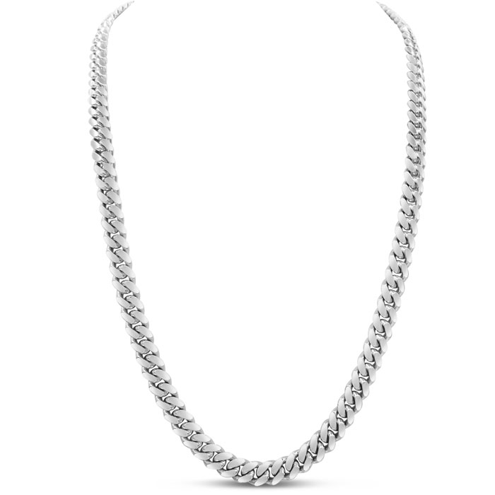 14K White Gold (9.6 g) 5.80mm 30 Inch Miami Cuban Chain Necklace