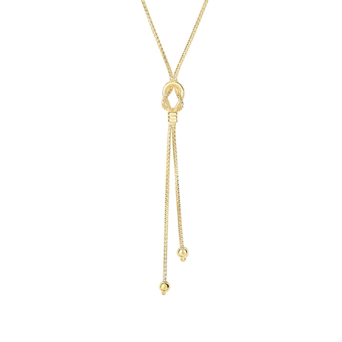 14K Yellow Gold (4.4 g) 17 Inch Bead & Knot Lariat Necklace by Su