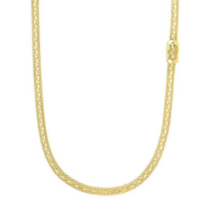 14K Yellow Gold (0.3 g) 18 Inch Fancy Link Necklace w/ Rectangle