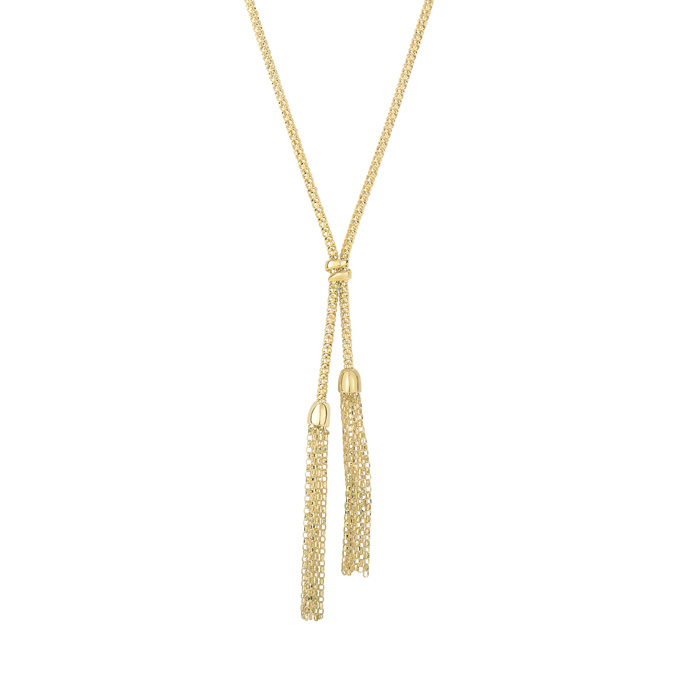 14K Yellow Gold (5.7 g) 17 Inch Bead & Tassel Lariat Necklace by