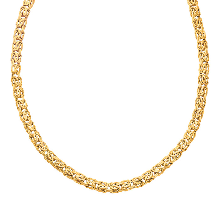 14K Yellow Gold (15.4 g) 7.20mm 18 Inch Shiny Byzantine Chain Nec