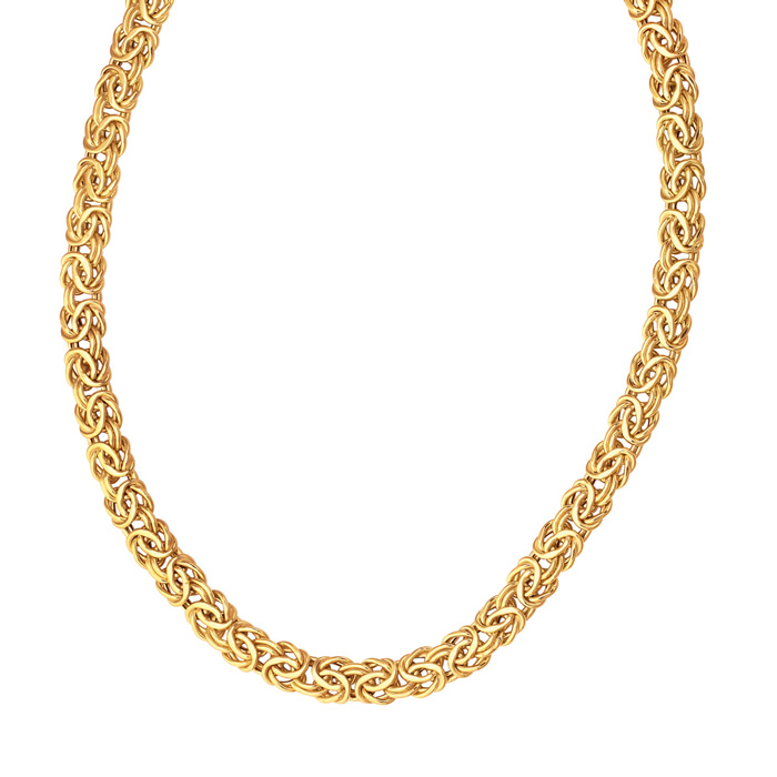 14K Yellow Gold (22 g) 9.0mm 18 Inch Shiny Byzantine Chain Neckla