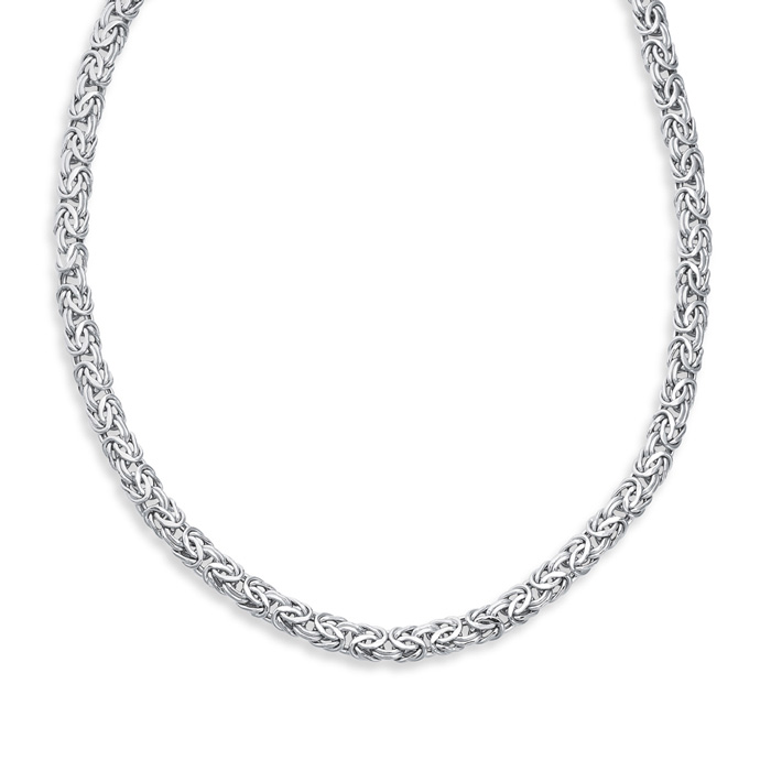 14K White Gold (15.4 g) 7.20mm 18 Inch Shiny Byzantine Chain Necklace by SuperJeweler