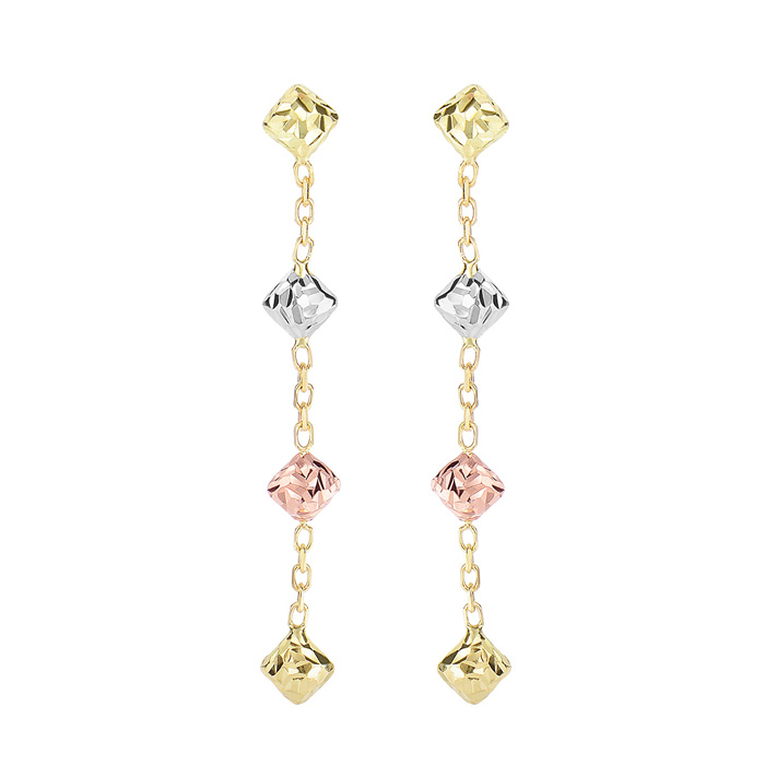 14K Yellow, White, & Rose Gold (1.2 g) 1.50 inch Diamond Shaped B