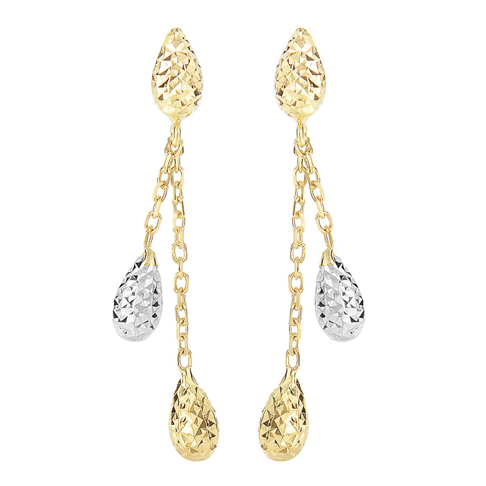 14K Yellow & White Gold (1.7 g) 1.25 inch Teardrop & Chain Dangle