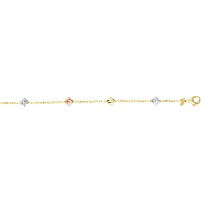 14K Yellow, White, & Rose Gold (1.6 g) 7.5 Inch Diamond Shaped Beads & Cable Chain Bracelet by SuperJeweler